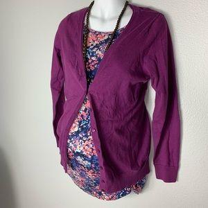 LOFT Maternity Purple Pima Cotton Cardigan